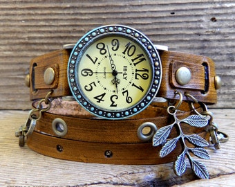 Women's watch, Rustic Leather watch, leather watch, bracelet watch,  Leather bracelet, Wrap watch with leaf charm and chain