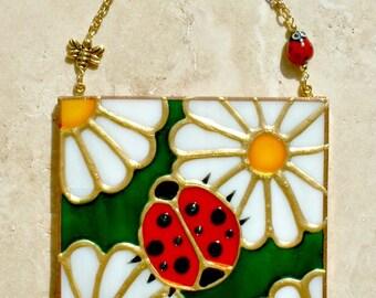 Ladybug Art Ladybug Wall Art Hanging Stain Glass Panel Art Ladybug Decor Ladybug Ornament Kitchen