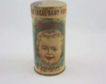 Rare 1906 Comfort Powder Tin With Contents - Fat Baby and Early Nurse Graphics - The Comfort Powder Co. Hartford, CT  - E. S. Sykes Antique