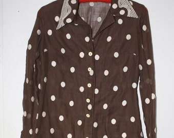 Vintage 1940s Brown and White Polka Dot Sheer Blouse