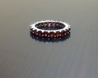 Sterling Silver Garnet Eternity Band - Silver Garnet Engagement Band - Garnet Wedding Band - Silver Eternity Garnet Band - Garnet Ring