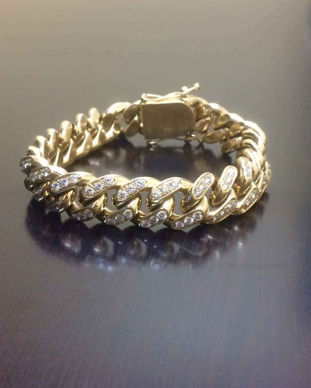 14k yellow gold cuban link diamond bracelet mens