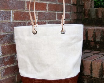 Linen and Leather Tote with Leather Handles - Perfect for Beach, Market and Summer Travels