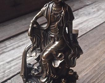 Vintage Kwan Yin Bronze Statue / Kuan Yin Figure / Guan Yin Statue / Goddess Statue / Buddhism