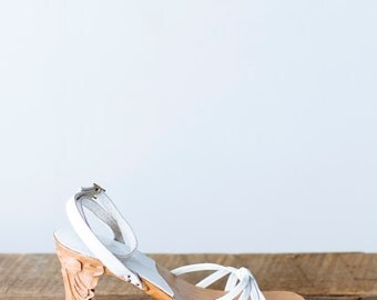 Vintage White Leather Strappy Sandals - Handcarved Wood Heel Philippines Size 6