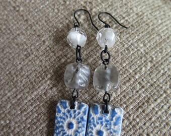 blue earrings, white earrings, blue and white earrings, lightweight earrings, summer earrings, resort earrings, vacation earrings, beach