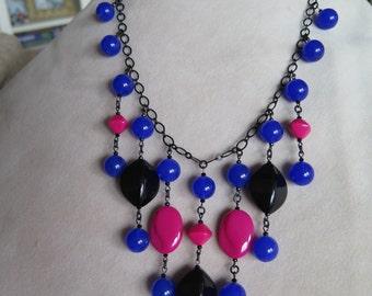 Bubble necklace, blue statement cobalt necklace, cobalt jewelry, blue necklace, cobalt & fuchsia necklace, statement necklace, unique