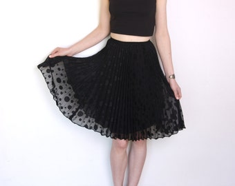 90's polka dot pleated chiffon skirt, black flared a line skirt, grunge sheer see trough skirt knee length high waisted small xs