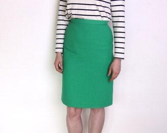 90's bright green pencil skirt, kelly green high waisted skirt, office secretary preppy high waisted skirt