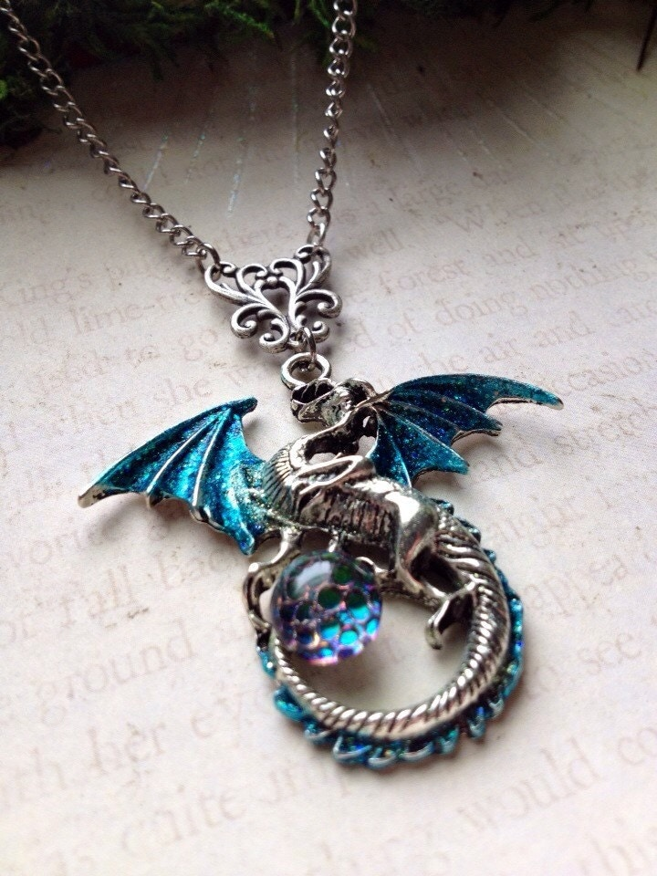 Helios Dragon Scale Pendant Necklace Crystal Dragon By