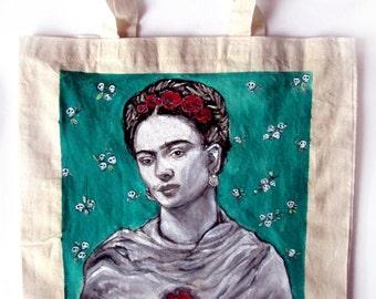 Handpainted tote bag Frida Kahlo Fanart custom eco friendly bag