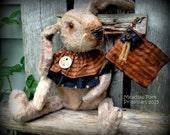 Primitive Folk Art Americana Patriotic Grungy Dirty Fur Rabbit Doll-Hare-Bunny-July 4th-USAFAAP, Hafair Team-Free Shipping