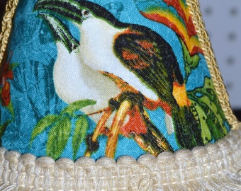 SHABBY CHIC Tropical Bird Night LightTropical Bird Fabric Covered Shade With Fringe Trim