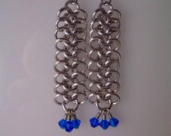 Blue Swarovski Crystal Chainmail Earrings, European 4-in-1 Chain Mail Earrings, Chain Maille European 4 in 1 Earrings