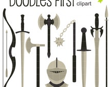 Medieval Weapons Clip Art for Scrapbooking Card Making Cupcake Toppers Paper Crafts