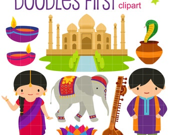 Incredible India Digital Clip Art for Scrapbooking Card Making Cupcake Toppers Paper Crafts