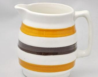 Vintage Carrigaline Brown Stripe Pottery Pitcher Ireland Cream Milk Syrup Kitchen Dining Serving