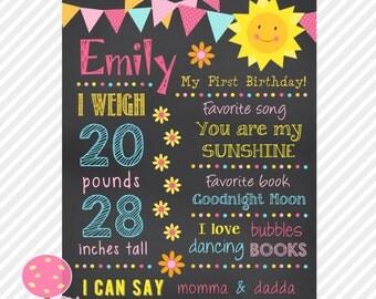 Chalkboard First Birthday Poster, Sunshine Theme, First Birthday Sign, Printable, Personalized, Sunshine Birthday
