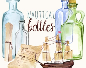 Nautical Ship In A Bottle, Sea Glass Bottles, Blue green glass clipart, Ship Clip Art, Message in a Bottle, Watercolor Nautical Clipart, Art