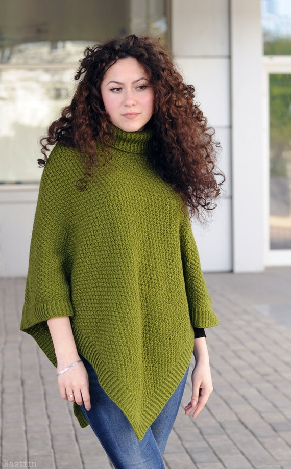 Knitting Patterns Womens Turtleneck Sweaters : PDF Womens knitted poncho pattern knit cape pattern Turtleneck sweater poncho...