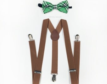 Men's suspenders and bowtie set - green plaid bow tie, brown suspenders, boys suspenders and bow tie for children and adults, barn wedding
