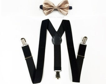 toddler's bowtie and suspenders - gold bowtie, black suspenders, gold bow tie, for ring bearer, baby boy's birthday, toddler's birthday