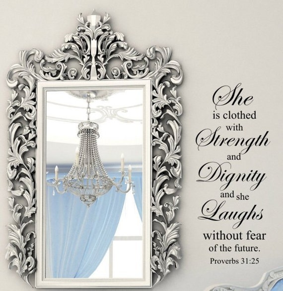 Dignity Wall: WW302 Strength And Dignity Vertical Wall Lettering Stencil