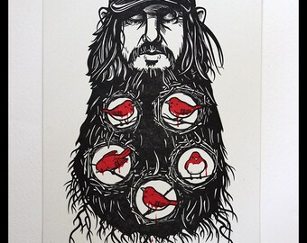 Neutral Milk Hotel Letterpress Poster - Jeff Mangum Little Birds Phoenix Theatre