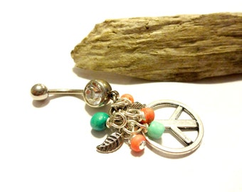 Peace Belly Button Ring, Peace Peace Charm Jewelry, Colorful Body Jewelry, Hippie Belly Ring, Body Piercins, Dangle Navel Ring, Cool Jewelry