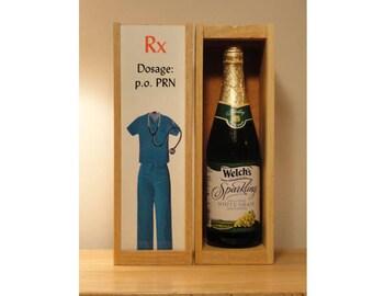 Personalized Wine Box, NURSE, Doctor,  Add a NAME, Custom Photo Wine Box, Liquor Box, Birthday, Valentine's Day