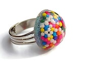 Small Candy Pastel Sprinkles Mini Dome Ring Rainbow Colored Bubblegum Ring Cute Comfortable Non Pinching Resin Ring Smaller Resin Jewelry