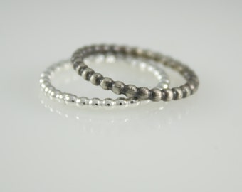 Silver Stacking Rings, Beaded Stack Rings, Sterling Silver Stacking Rings, Beaded Stacker, Full Bead Wire Ring