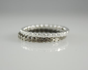 Silver Stacking Rings, Beaded Stack Rings, Sterling Silver Stacking Rings, Beaded Stacker, Full Bead Wire Ring, Hammered Silver Ring