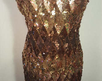 FREE  SHIPPING  A J  Bari Beaded   Sequin  Dress