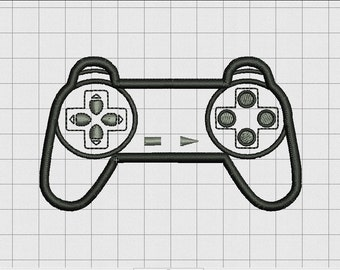 Video Game Controller Sony Playstation PS1 PSX Style Applique Embroidery Design in 4x4 and 5x7 Sizes