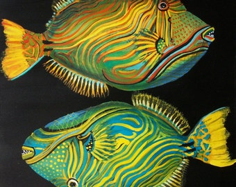 Fish tempera on paper prepared with acrylic background, original painting