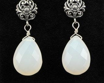 Gemstone Earrings, White Chalcedony Briolette Drop Earrings on Sterling Silver, Ornate, Bali Posts