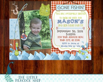 Fishing birthday 5x7 or 4x6 digital and printable party invitation! Country-Fish-Camping-Outdoors-cabin-Fishing Pole-frogs- invite!