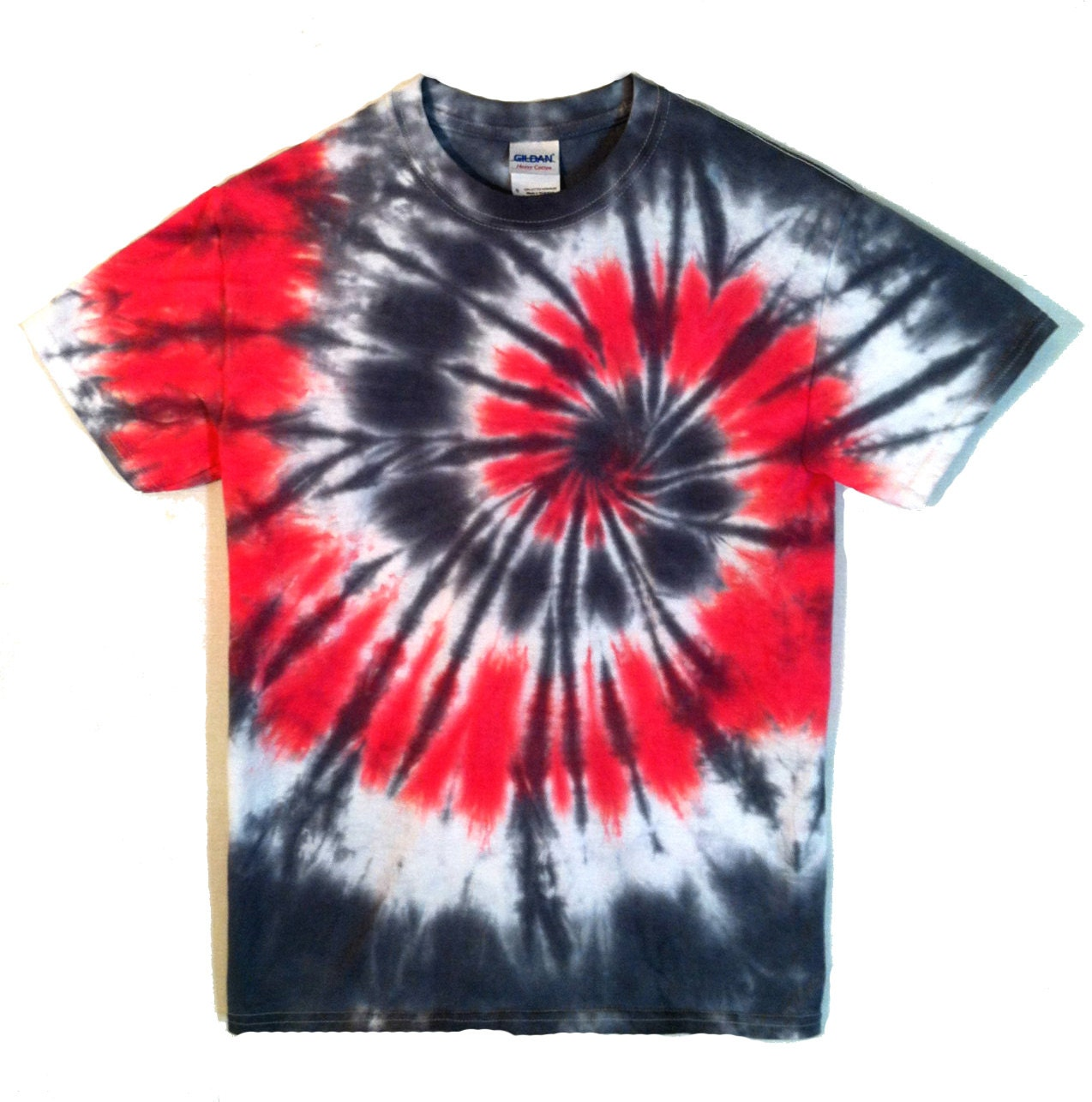 Tie Dye T Shirt Red And Black Spiral Psychedelic Tie Dye