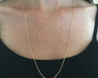 Simple gold chain necklace, long dainty chain necklace, layering necklace, thin gold chain, tiny chain necklace, long chain necklace