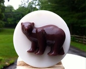 Russian Bear Beautiful Present, Nice Gift,New Year, Christmas,  Weight  4Oz. Handmade Soap, Nice Gift, White Color, With Kaoline Clay.