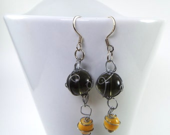Glass Bead Wire Wrapped Earrings - Black & Yellow