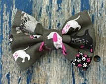 Grey Dog Silhouette Paw Print Hot Pink and Black Summer Fall Print Pet Bow Tie or Bow Elastic Interchangeable Collar or Harness Accessory
