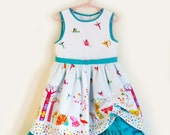Unique Girl's Party Dress, Origami Safari, 100% Cotton, Girl's Turquoise&White Cotton Dress, 1st Birthday Dress, 12-18 months to 5-6 years