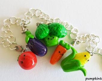 Veggies Cute Clay Charm Bracelet