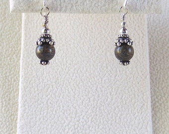 E42 Bronzite Genuine Natural Solid Sterling Silver Dangle Earrings with Bali Accents