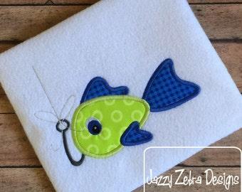 Fish on Hook Appliqué embroidery Design - fish Appliqué Design - fishing Appliqué Design - boy appliqué design