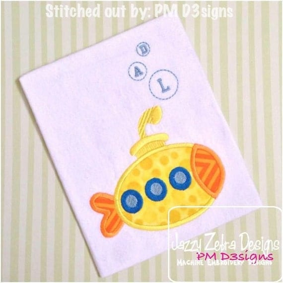 Submarine 71 Applique embroidery Design - boat Appliqué Design - submarine Applique Design - boy Applique Design