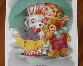Vintage 1930's Child's Nursery Print - Vintage Rain, Rain, Go Away Print - Vintage Nursery Artwork - Vintage Nursery Rhyme Art - Vintage Art