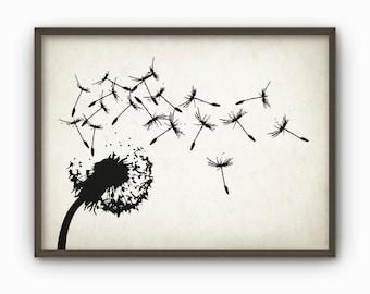 Dandelion Summer Garden Art Poster - Botanical Wall Art Print (AB13)